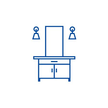 Hall line concept icon. Hall flat  vector website sign, outline symbol, illustration.