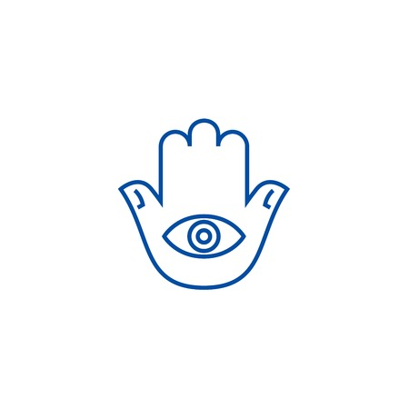 Hamsa hand line concept icon. Hamsa hand flat  vector website sign, outline symbol, illustration. Foto de archivo - 119987160