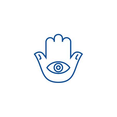 Hamsa hand line concept icon. Hamsa hand flat  vector website sign, outline symbol, illustration. Illustration