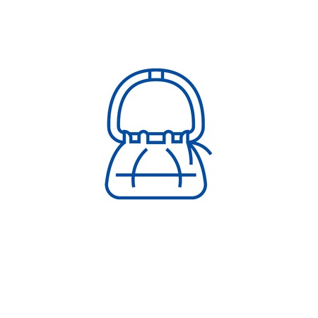 Hand bag line concept icon. Hand bag flat  vector website sign, outline symbol, illustration.
