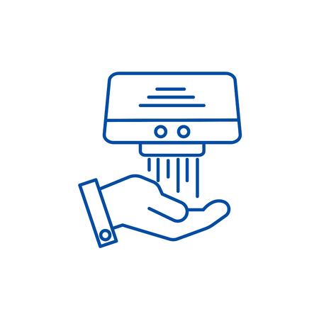 Icono de concepto de línea de secador de manos. Secador de manos plano vector sitio web de señal, símbolo de contorno, Ilustración.