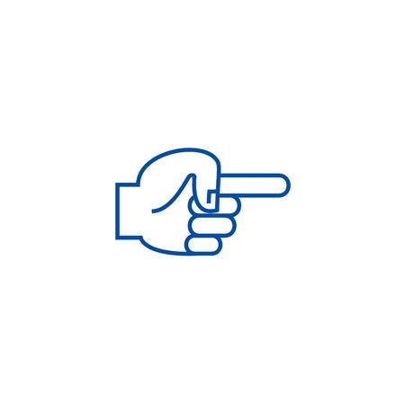 Hand finger pointer back line concept icon. Hand finger pointer back flat  vector website sign, outline symbol, illustration. 일러스트