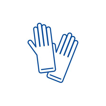 Gloves line concept icon. Gloves flat  vector website sign, outline symbol, illustration.