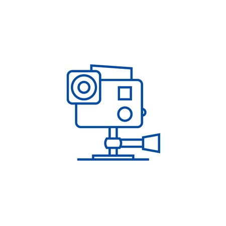 camera line concept icon. Go pro  camera flat  vector website sign, outline symbol, illustration. Иллюстрация