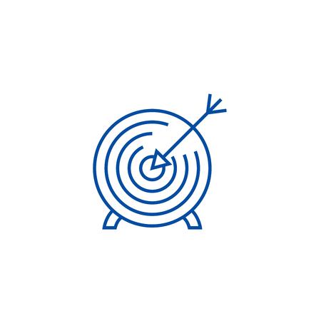 Goal target line concept icon. Goal target flat  vector website sign, outline symbol, illustration. Illustration