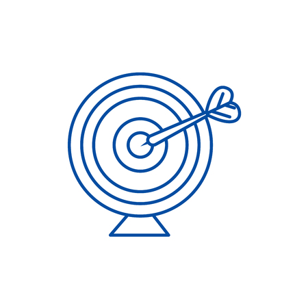 Goal target with arrow line concept icon. Goal target with arrow flat  vector website sign, outline symbol, illustration.