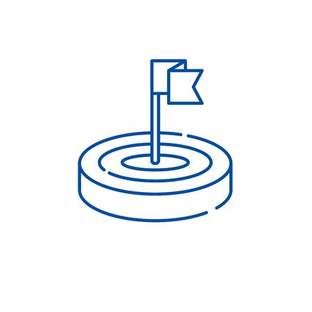Goals line concept icon. Goals flat vector website sign, outline symbol, illustration.