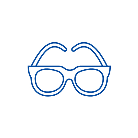 Goggles,sunglasses line concept icon. Goggles,sunglasses flat  vector website sign, outline symbol, illustration. Illustration