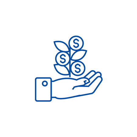 Hand with money tree line concept icon. Hand with money tree flat  vector website sign, outline symbol, illustration.