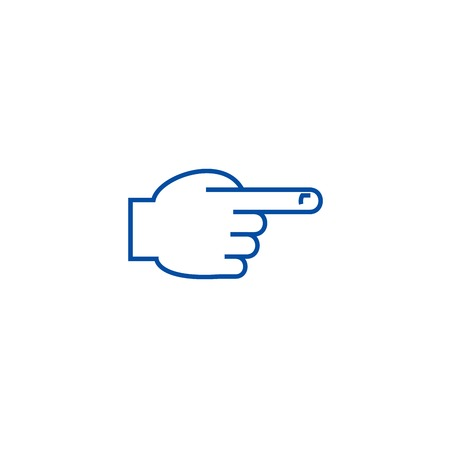 Mano con l'icona del concetto di prima linea del dito puntato. Mano con il dito puntato anteriore piatto vettore sito web segno, simbolo di contorno, illustrazione.