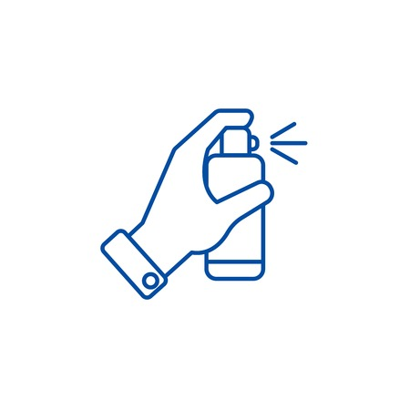 Hand with spray line concept icon. Hand with spray flat  vector website sign, outline symbol, illustration.