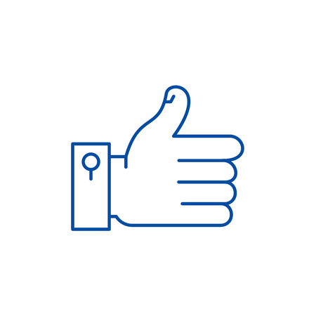 Hand with thumb up line concept icon. Hand with thumb up flat  vector website sign, outline symbol, illustration. Ilustrace