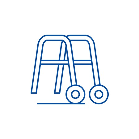 Handrails for walking line concept icon. Handrails for walking flat  vector website sign, outline symbol, illustration.  イラスト・ベクター素材