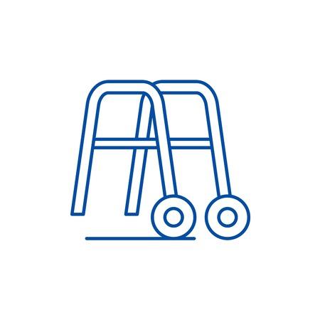 Handrails for walking line concept icon. Handrails for walking flat  vector website sign, outline symbol, illustration. Illustration