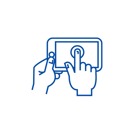 Hands touching tablet line concept icon. Hands touching tablet flat  vector website sign, outline symbol, illustration.