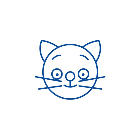 Happy cat emoji line concept icon. Happy cat emoji flat vector website sign, outline symbol, illustration.