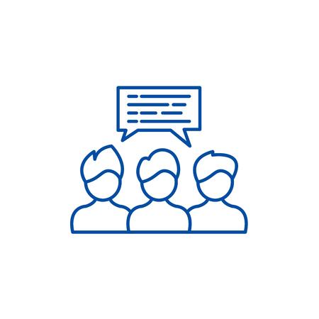 Icono de concepto de línea de coaching grupal. Coaching grupal vector plano sitio web de señal, símbolo de contorno, Ilustración. Ilustración de vector