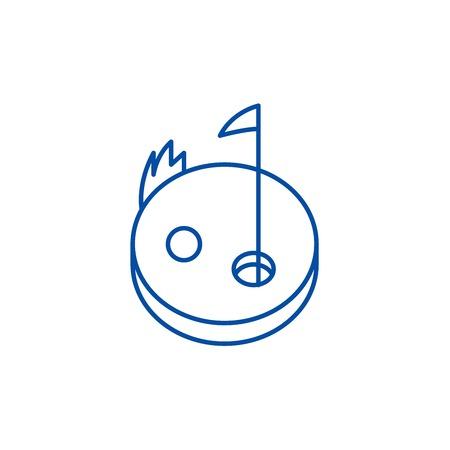 Golf line concept icon. Golf flat  vector website sign, outline symbol, illustration.