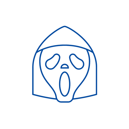 Grim reaper emoji line concept icon. Grim reaper emoji flat  vector website sign, outline symbol, illustration.