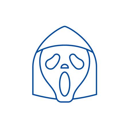 Grim reaper emoji line concept icon. Grim reaper emoji flat  vector website sign, outline symbol, illustration.