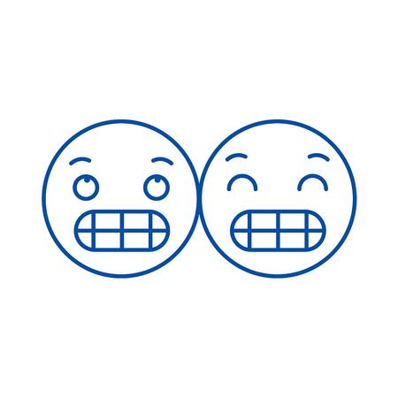 Grimacing emoji line concept icon. Grimacing emoji flat  vector website sign, outline symbol, illustration.