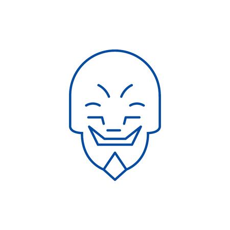 Grimacing mask emoji line concept icon. Grimacing mask emoji flat  vector website sign, outline symbol, illustration.