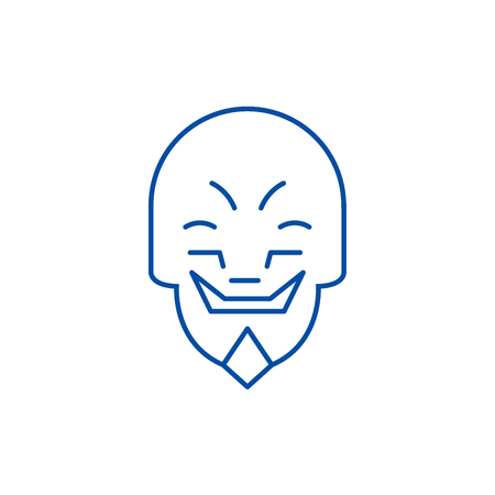 Grimacing mask emoji line concept icon. Grimacing mask emoji flat  vector website sign, outline symbol, illustration.