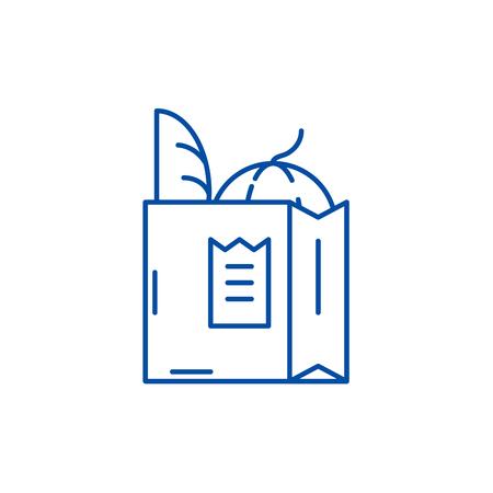 Grocery bag line concept icon. Grocery bag flat  vector website sign, outline symbol, illustration.