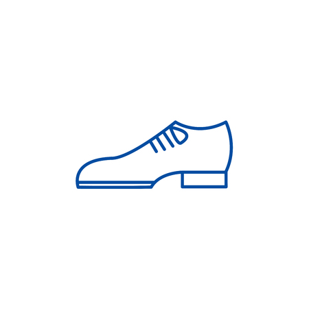 Groom shoes line concept icon. Groom shoes flat  vector website sign, outline symbol, illustration.