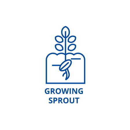 Growing sprout line concept icon. Growing sprout flat  vector website sign, outline symbol, illustration.