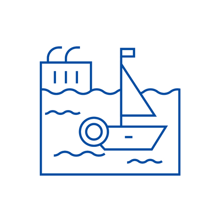 Harbor line concept icon. Harbor flat  vector website sign, outline symbol, illustration.
