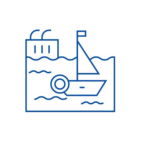 Harbor line concept icon. Harbor flat  vector website sign, outline symbol, illustration.