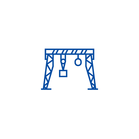 Harbour crane line concept icon. Harbour crane flat  vector website sign, outline symbol, illustration.