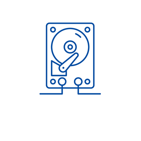 Hdd storage line concept icon. Hdd storage flat  vector website sign, outline symbol, illustration. Иллюстрация