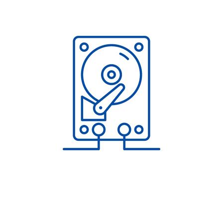 Hdd storage line concept icon. Hdd storage flat  vector website sign, outline symbol, illustration. Illustration