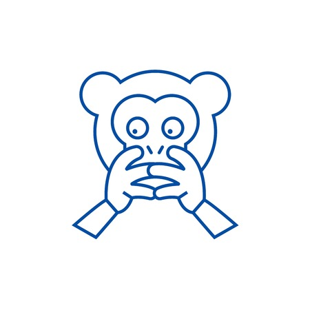 Hear no evil emoji line concept icon. Hear no evil emoji flat  vector website sign, outline symbol, illustration.