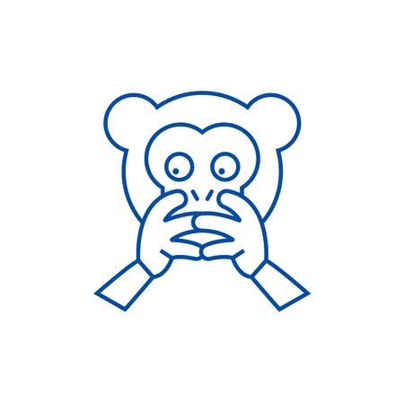 Hear no evil emoji line concept icon. Hear no evil emoji flat  vector website sign, outline symbol, illustration.