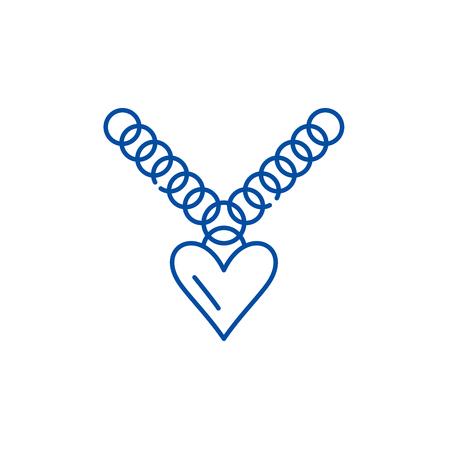 Heart pendant line concept icon. Heart pendant flat  vector website sign, outline symbol, illustration.