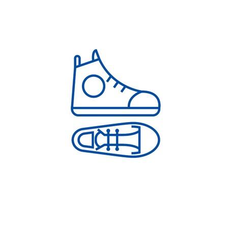 Gumshoes line concept icon. Gumshoes flat  vector website sign, outline symbol, illustration. Çizim