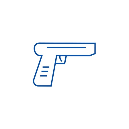 Gun line concept icon. Gun flat  vector website sign, outline symbol, illustration. Illustration