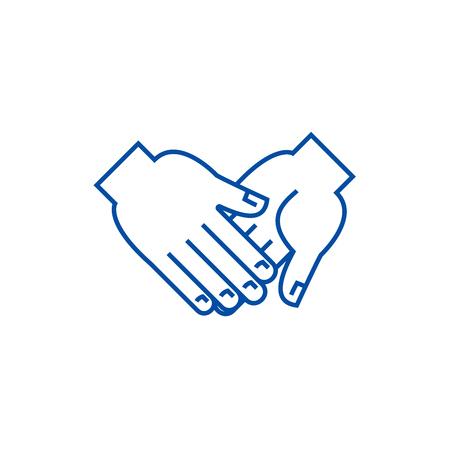 Hand in hand line concept icon. Hand in hand flat  vector website sign, outline symbol, illustration. Foto de archivo - 119714224