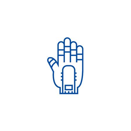 Hand manipulator line concept icon. Hand manipulator flat  vector website sign, outline symbol, illustration. Stock Vector - 119714227