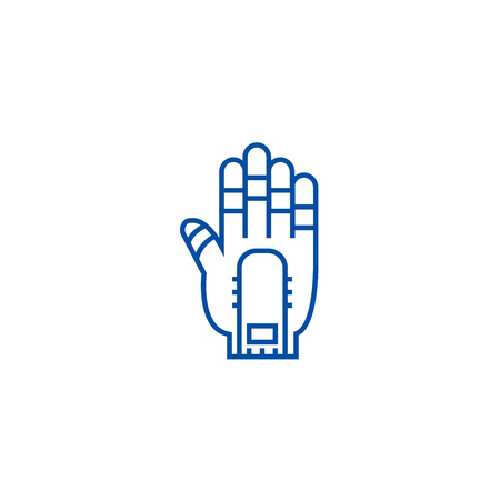 Hand manipulator line concept icon. Hand manipulator flat  vector website sign, outline symbol, illustration.