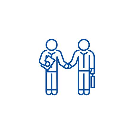 Hand shaking businessmen, agreement line concept icon. Hand shaking businessmen, agreement flat  vector website sign, outline symbol, illustration.