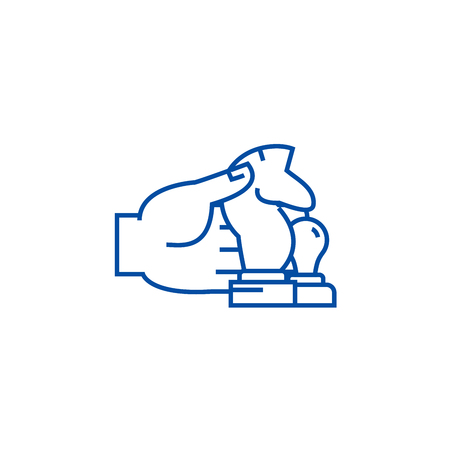 Hand with chess figures line concept icon. Hand with chess figures flat  vector website sign, outline symbol, illustration. 일러스트