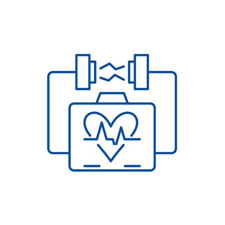 Heart stimulation line concept icon. Heart stimulation flat  vector website sign, outline symbol, illustration.