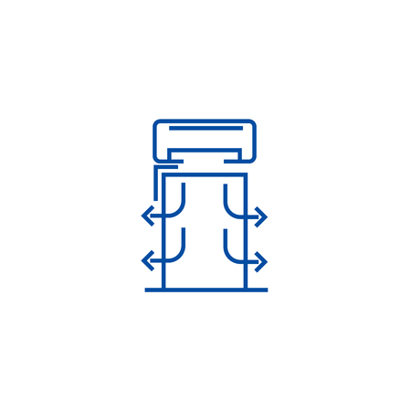 Heat curtains line concept icon. Heat curtains flat  vector website sign, outline symbol, illustration.