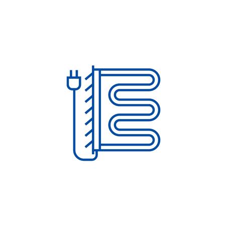 Heated towel dryer line concept icon. Heated towel dryer flat  vector website sign, outline symbol, illustration. Illustration