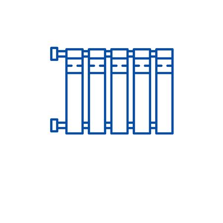Heater battery line concept icon. Heater battery flat  vector website sign, outline symbol, illustration.