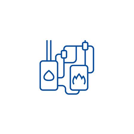 Icône de concept de ligne de système de chauffage. Système de chauffage télévision vector signe site Web, symbole du contour, illustration.